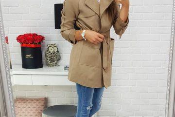 damski płaszcz z kołnierzem