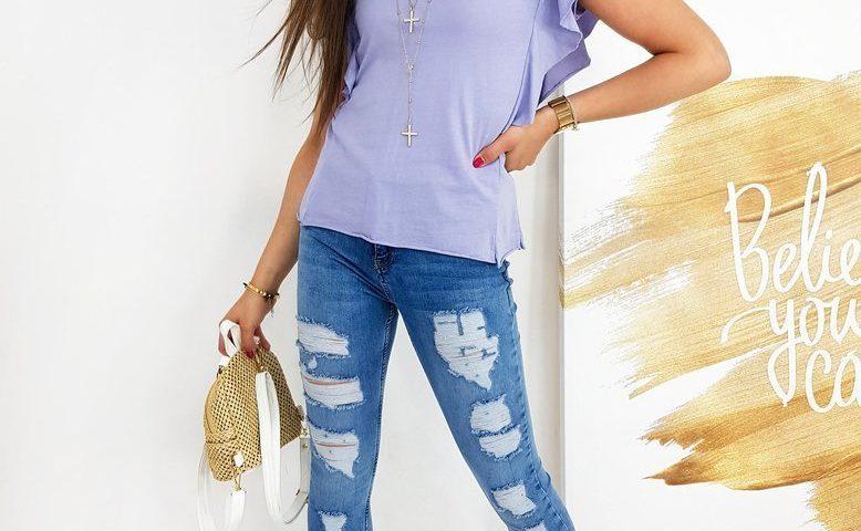 lekka bluzka damska w kolorze liliowym